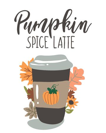 Handwritten Lettering Pumpkin Space Latte with a cup Vettoriali