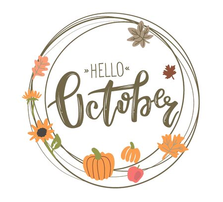 Vector circle frame with Hello October lettering
