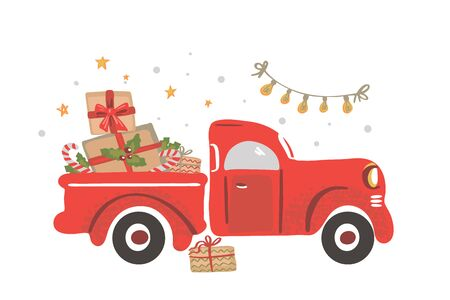 Christmas truck. Vintage vector illustration Christmas red truck with presents.