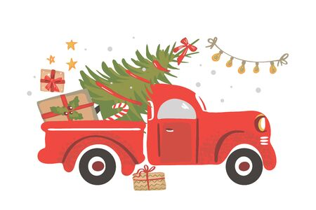 Christmas truck. Vintage vector illustration Christmas red truck with a Christmas tree.