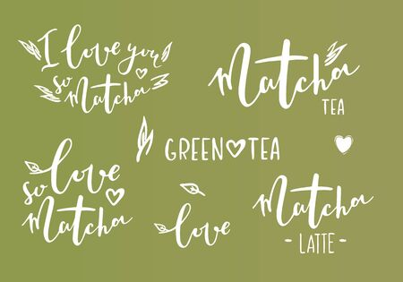 Matcha tea. Hand drawn lettering set about matcha tea Vettoriali