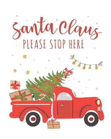 Christmas truck. Vintage vector illustration Christmas red truck with with a Christmas tree on a white background