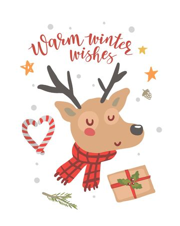 Christmas deer on a white background