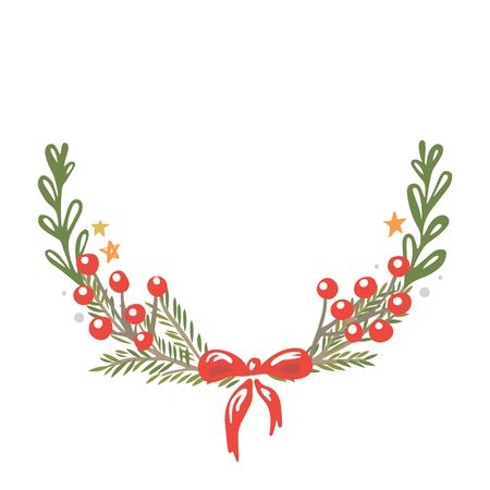 Christmas wreath on a white background Vettoriali