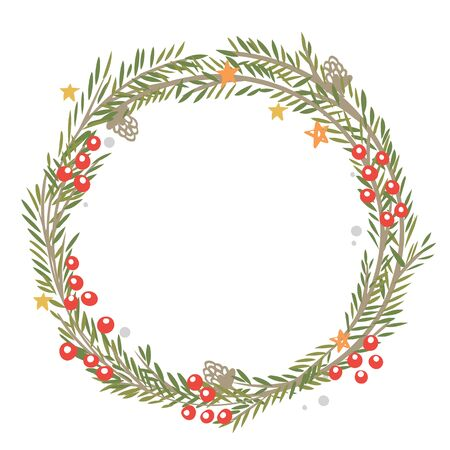 Christmas wreath on a white background Stock Illustratie