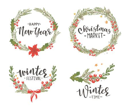 Christmas wreaths on a white background
