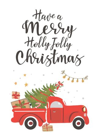Christmas truck. Vintage vector illustration Christmas red truck with a Christmas tree on a white background. Retro card