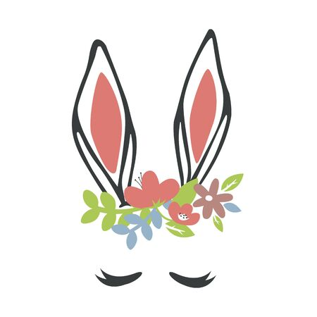 Cute rabbit ears for Happy Easter Day Stock Illustratie