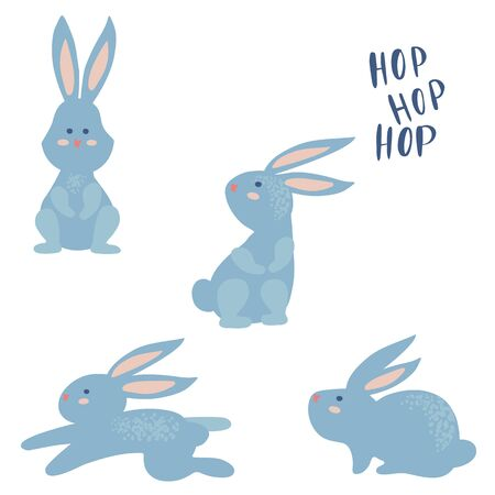 Set of a funny simple rabbit cartoon. Vector illustration Stock Illustratie
