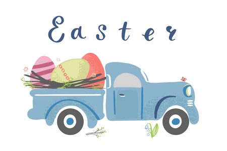 Simple cute vintage truck carrying Easter eggs