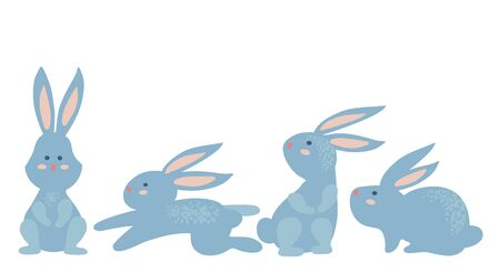 Simple vector illustration of funny blue rabbits. Happy Easter. Vettoriali