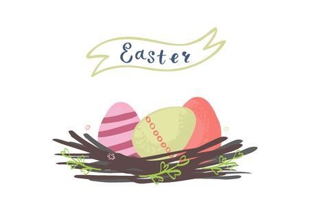 Vector illustration of a nest carrying Easter eggs. Happy easter illustration.