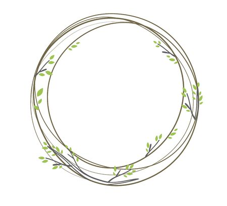 Vintage vector illustration of an Easter wreath on a white background