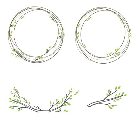 Vintage vector illustration of spring wreaths on a white background Vettoriali