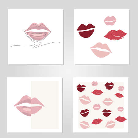 Vector illustration of lips set