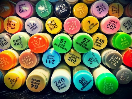 Colored markers Stock Photo