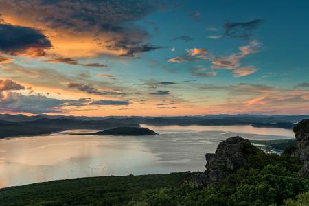 Russia Far East Region Sea of Japan. Beautiful sunrise in the Gulf of Vladimir.