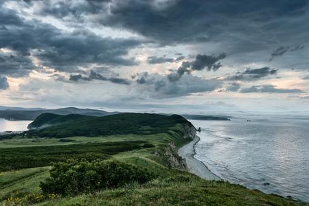 ridge of wave: Beautiful landscape of the peninsula Balyuzek Russia.  Peninsula Balyuzek Sea of Japan.