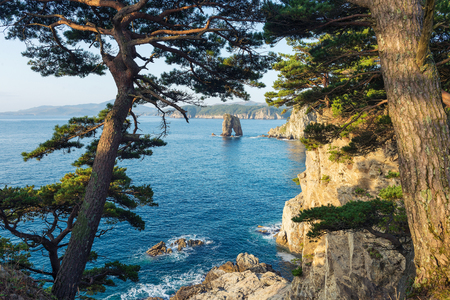 Russian Far Eastern peninsula named Gamova. Cape Pine Bay on the Gorshkov of the sea of Japan. Reklamní fotografie