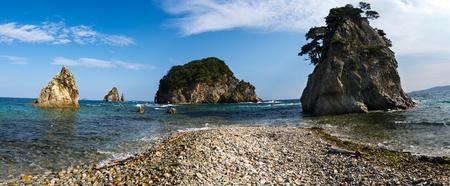Russian Far Eastern peninsula named Gamova. Cape Pine Bay on the Gorshkov of the sea of Japan. Stock Photo