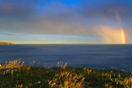 Evening. Rainbow on the Japanese Sea.
