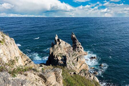 Cliff at Cape Laplas. Russia. Primorsky Krai. Japanese Sea.