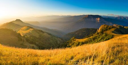 Caucasian mountains of the Republic of Adygea, Krasnodar region. South of Russia. Beautiful foothills of the Caucasus. Thach Nature Park. Achenbuk mountain.