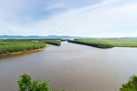 Khabarovsk region. Beautiful view of the river by the name Amur. The Amur River near Ommi near the city of Amursk Khabarovsk krai.