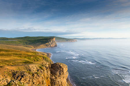 Russia. Far East. Seaside. Sea of Japan. The area of the village called Olga. Beautiful view of the Japanese Sea from the side of the cape named South.