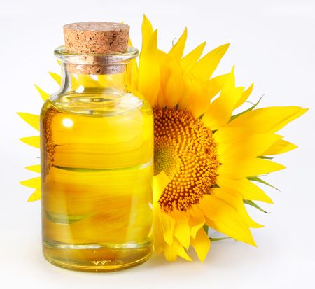 sunflowerseed: bottle with sunflower-seed oil