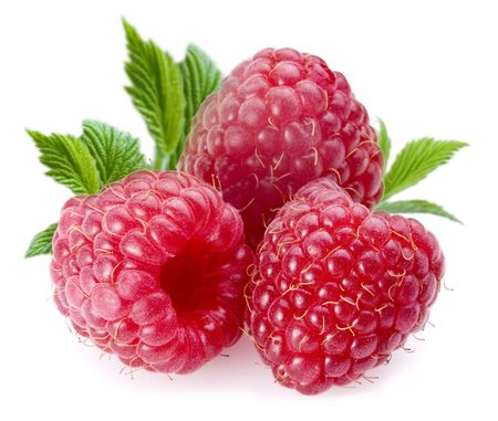 Raspberries; Objects on white background photo
