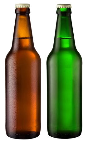 sapid: two bottles of beer; object on a white background