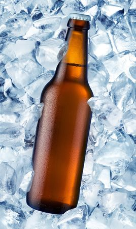 a bottle of beer is in ice photo