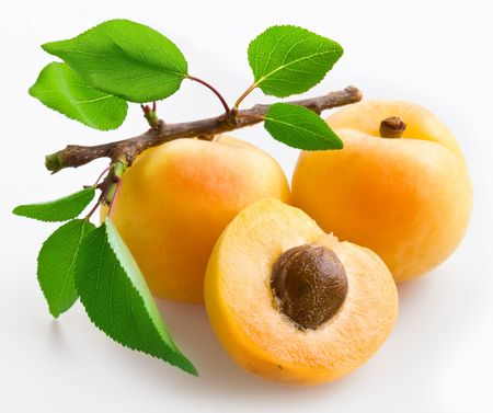 Apricots with leaves on a white background. photo