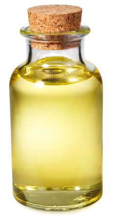 sunflowerseed: Bottle of sunflower-seed oil on a white background