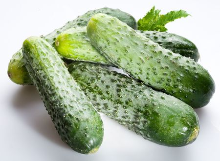 heartiness: Cucumbers; objects on white background Stock Photo