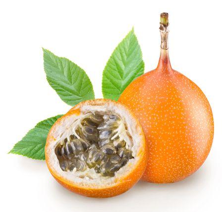 grenadilla: Passion fruit one a white background