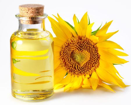 bottle with sunflower oil Stock Photo