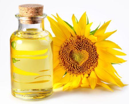 fles met zonnebloemolie Stockfoto