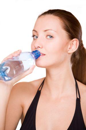 girl drinks water photo