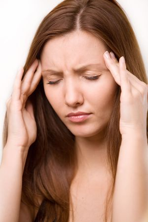 headache: for a girl has a headache Stock Photo