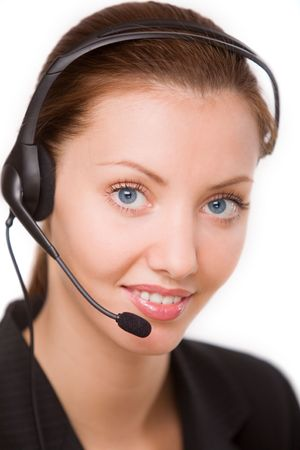 girl - telephone operator Stock Photo - 5322573
