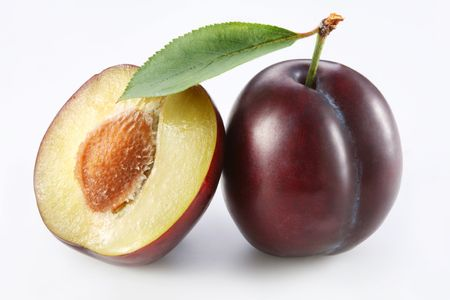 Plums on a white background photo