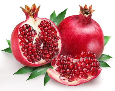 pomegranate juice: pomegranates on a white background