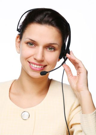 Smiling young woman - operator.Customer support. Stock Photo - 5853590