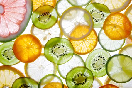 brighten: Brighten citrus slices  on a white
