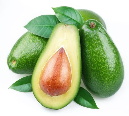hass: Avocado with leaves on a white background