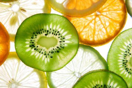 gleams: Brighten citrus slices  on a white