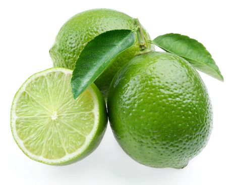 Lime with section on a white background photo
