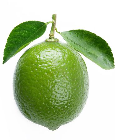 Lime with leaves on a white background photo